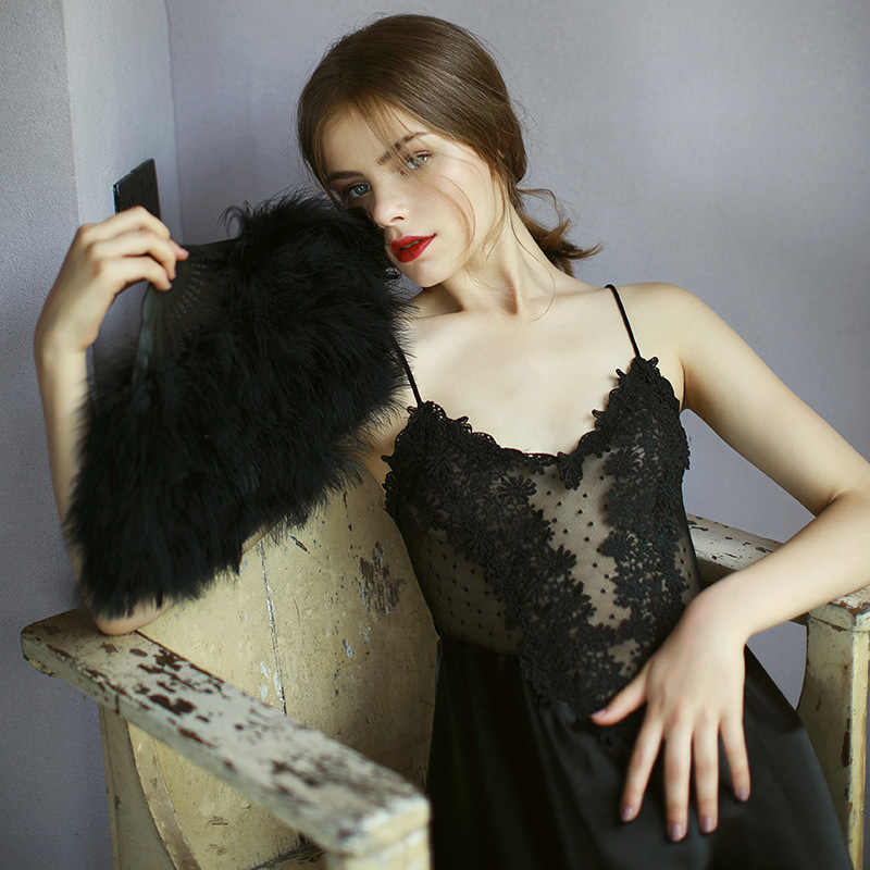b52d22c54f017 White Black Women Deep V Lace Silk Satin Lingerie Wedding Long Night Dress  Sleeveless Embroidery Nightgowns Ladies Sleepwear