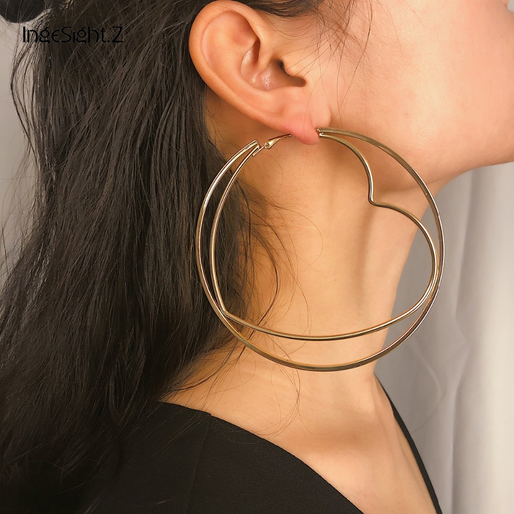 IngeSight.Z Punk Double Layer Big Round Hoop Earrings Statement Exaggerated Hollow Out Heart Earrings for Women Jewelry Brincos