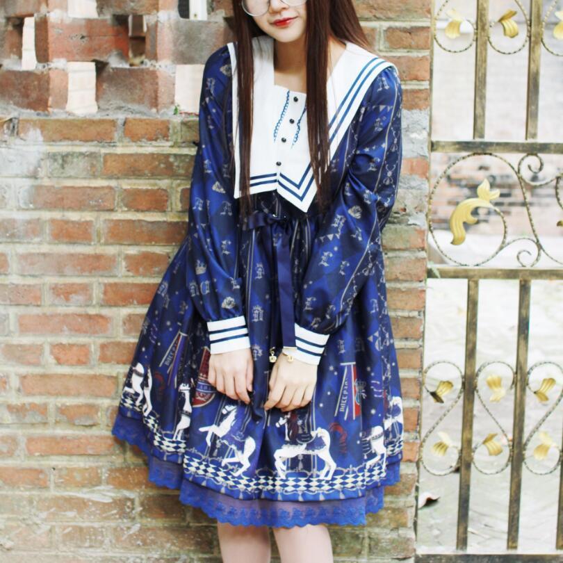 Japonais 2018 nouvelle mode Lolita Kawaii robe femmes printemps douce soeur mignon doux imprimé à manches longues en mousseline de soie robes s1769