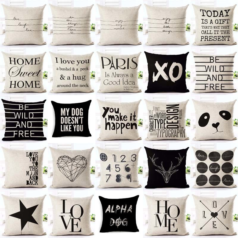 Letter Love Home Cushion covers Cotton linen Black White pillow cover Sofa bed Nordic decorative pillow case almofadas 45x45cm sloth square cushion cover throw pillow case