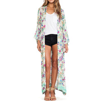 Summer Women 2017 Open Front Floral Printed Loose Casual Kimono Long Tops Cardigan Maxi Coat Jacket