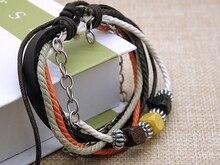 Brand New Stylish leather Wrap Hemp bracelets For Men Women Multi-layer Wooden Beads leather Charm bracelet jewelry Xmas Gifts stylish solid color faux leather bracelet for men
