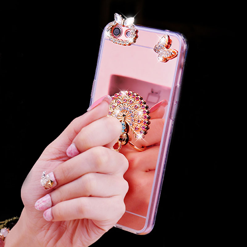 Honor 9 Funda Honor 10 8 Lite Cover Diamond Ring Mirror Soft TPU Silicone Case For Coque Huawei Honor 7 7X 5X 6A 6X 6C V8 V9 V10 in Rhinestone Cases from Cellphones Telecommunications
