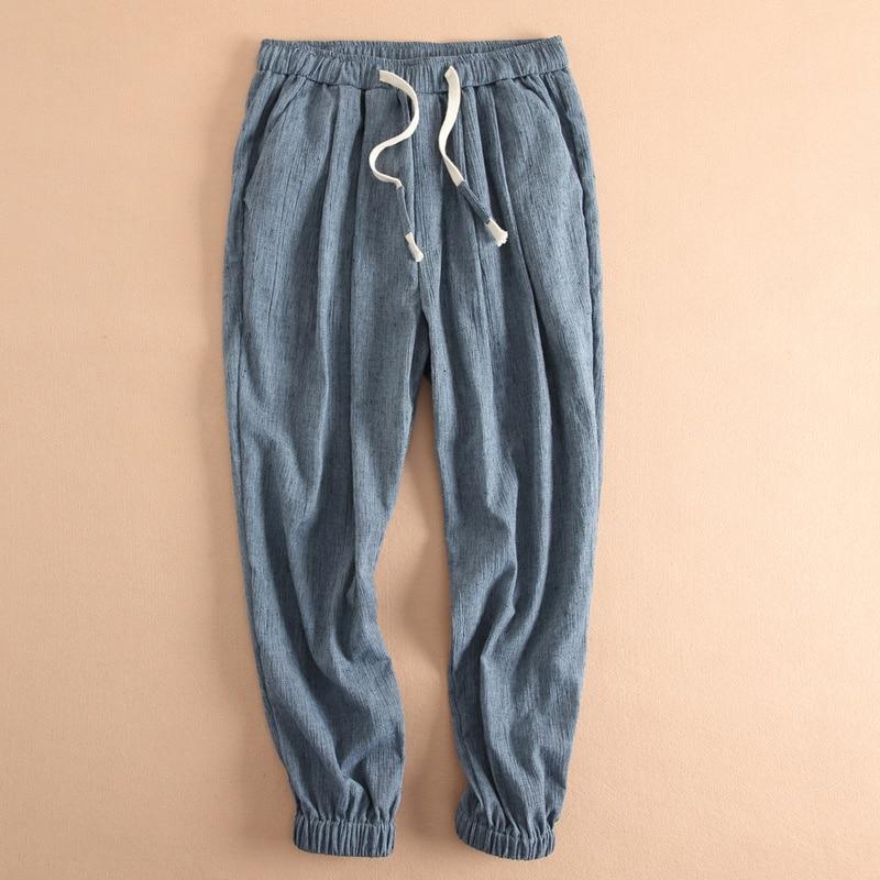Casual Mens Ankel-length Linen Pants Elastic Waist Comfortable Soft White Harem Pant Drawstring Loose Trousers Pantalon Hombre