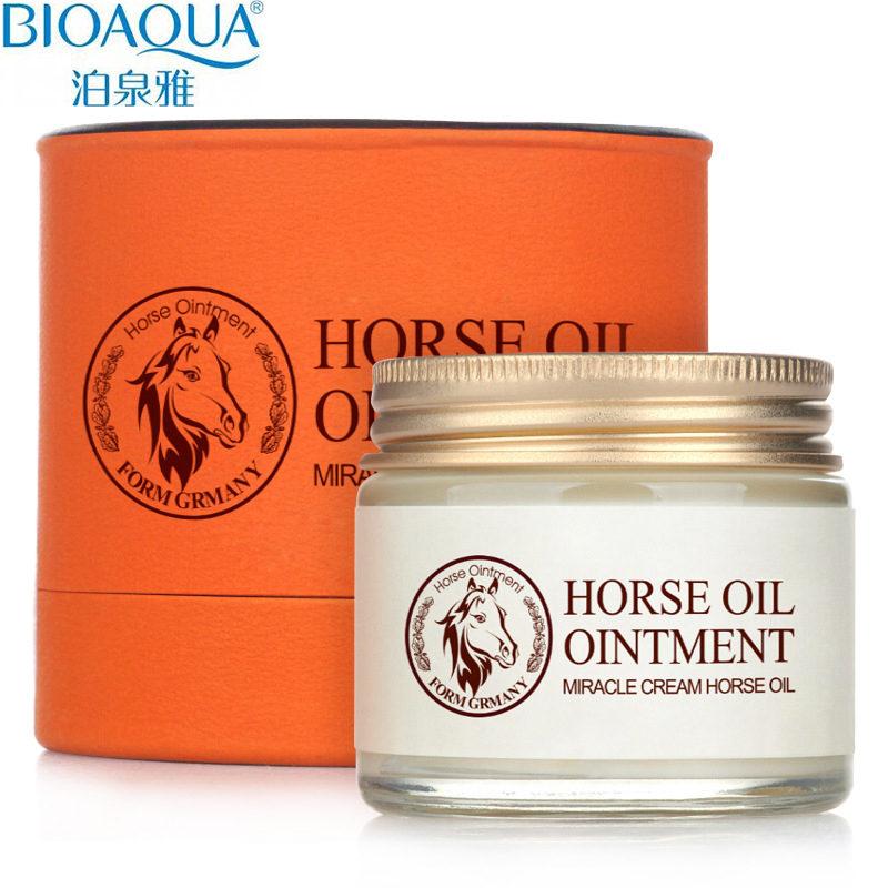 Bioaqua Horse Oil Cream Moisturizing Anti Aging Cream Scar Face Body Whitening Cream Skin Care Ageless Products Korea Cosmetics korean collagen pig skin face mask 100g anti aging cream anti wrinkle magic facial mask ageless products cosmetics bioaqua page 9