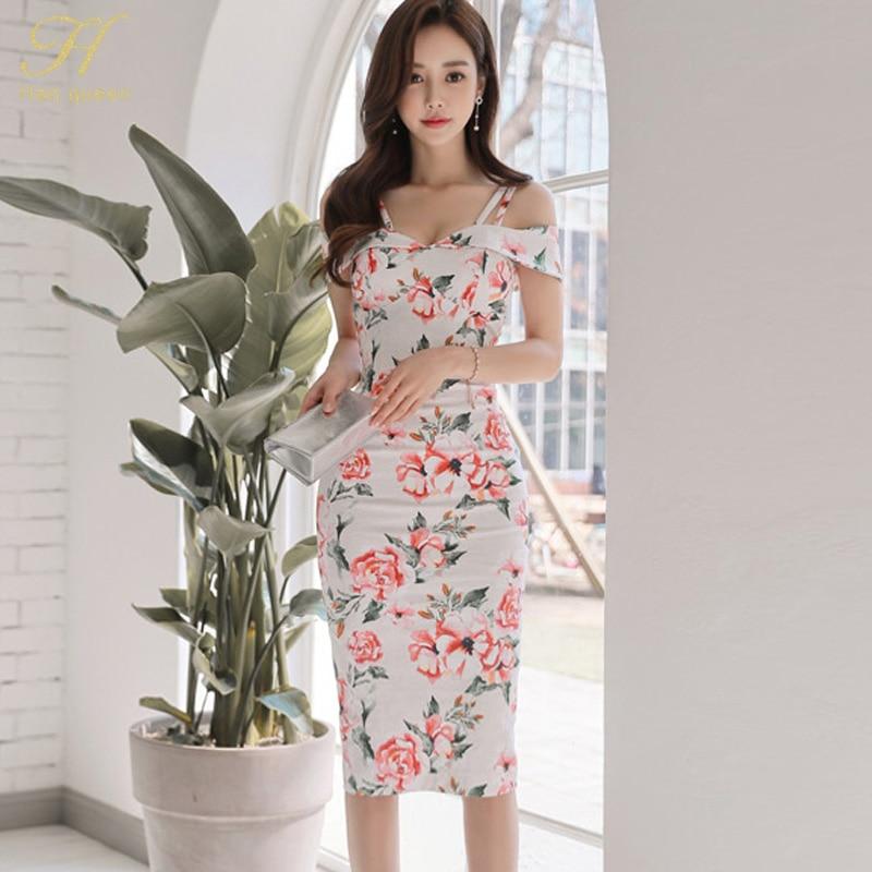 h-han-queen-womens-sexy-floral-print-dress-slash-neck-casual-office-party-vestidos-elegant-vintage-pencil-sheath-halter-dresses by h-han-queen