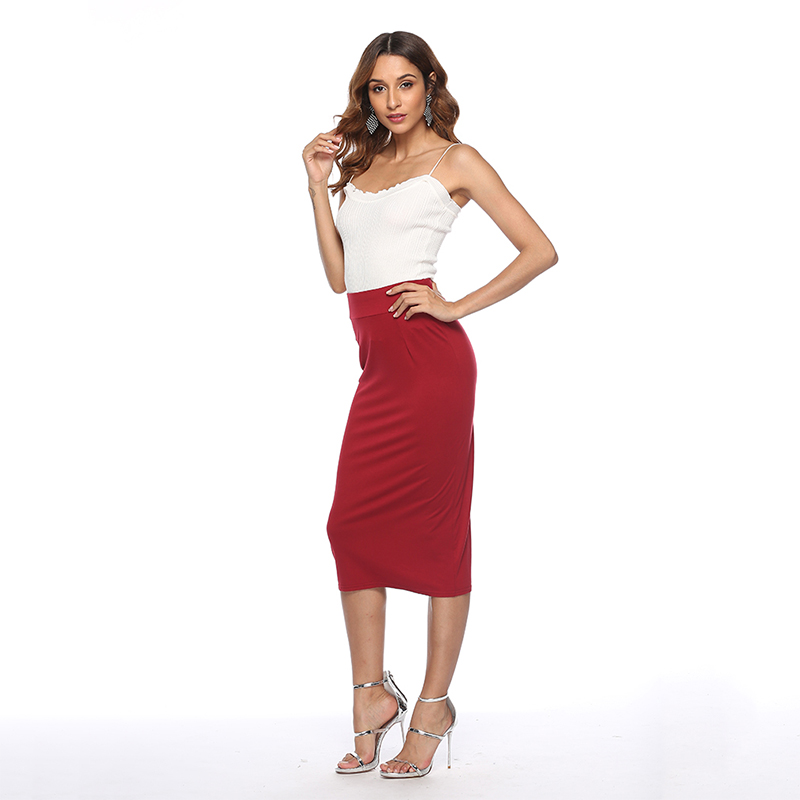 New Sexy Pencil Bodycon Skirt Striped Mid-Calf Bandage Skirts Wear To Work Summer Autumn All-match Women Skirt