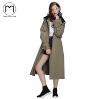 Margin 2017New High Street Streetwear Women Girls Street Long Trench Coat Ladies Casual Back Print Hooded