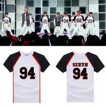 New EXO Love Me Right sehun baekhyun cotton white T shirt loose summer short sleeves tee camiseta