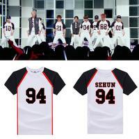 New EXO Love Me Right Sehun Baekhyun Cotton White T Shirt Loose Summer Short Sleeves Tee