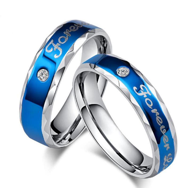 Never fade silver plated engagement blue forever Love letter jewerly accessories Women and Men Wedding Rings Couples