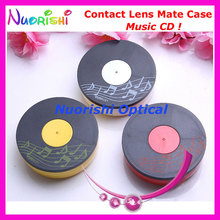 10pcs Music CD design Contact Lens Case with Mirror C528 contact lens mate box Free Shipping