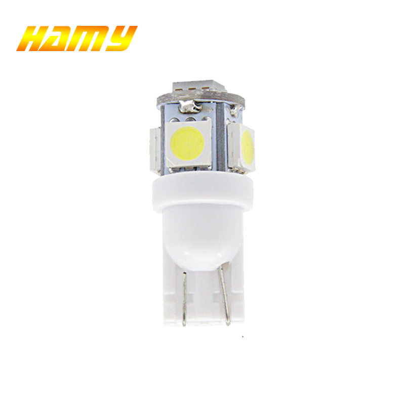 1x Car T10 W5W LED Signal Bulb Auto Interior Dome Reading Light Luggage License Plate Wedge Side Trunk Lamp 12V 5smd White