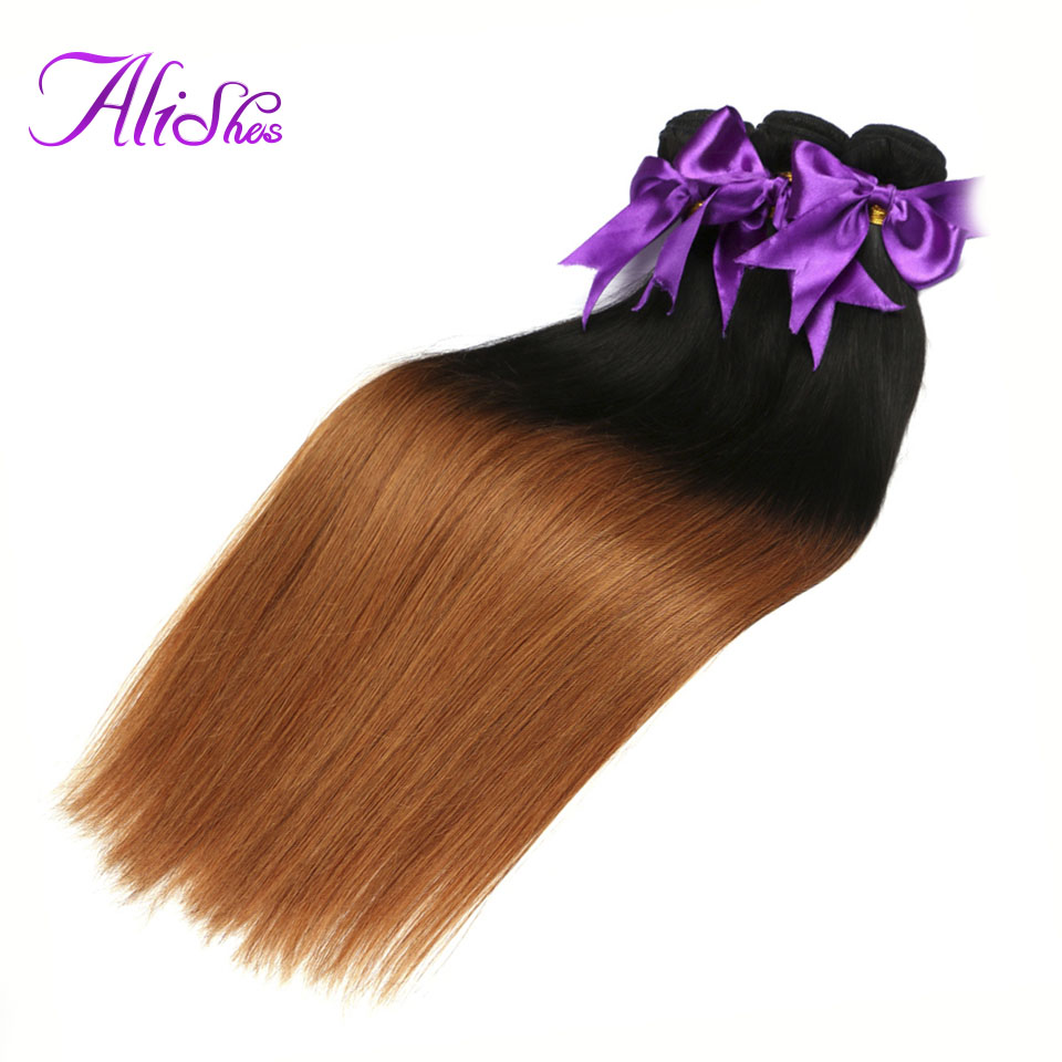 Alishes Brazilian Straight Ombre Hair 1B/30 Human Hair Weave Bundles 1/3 Pieces 2 Tone Remy Hair Extensions 12-24 Double Weft