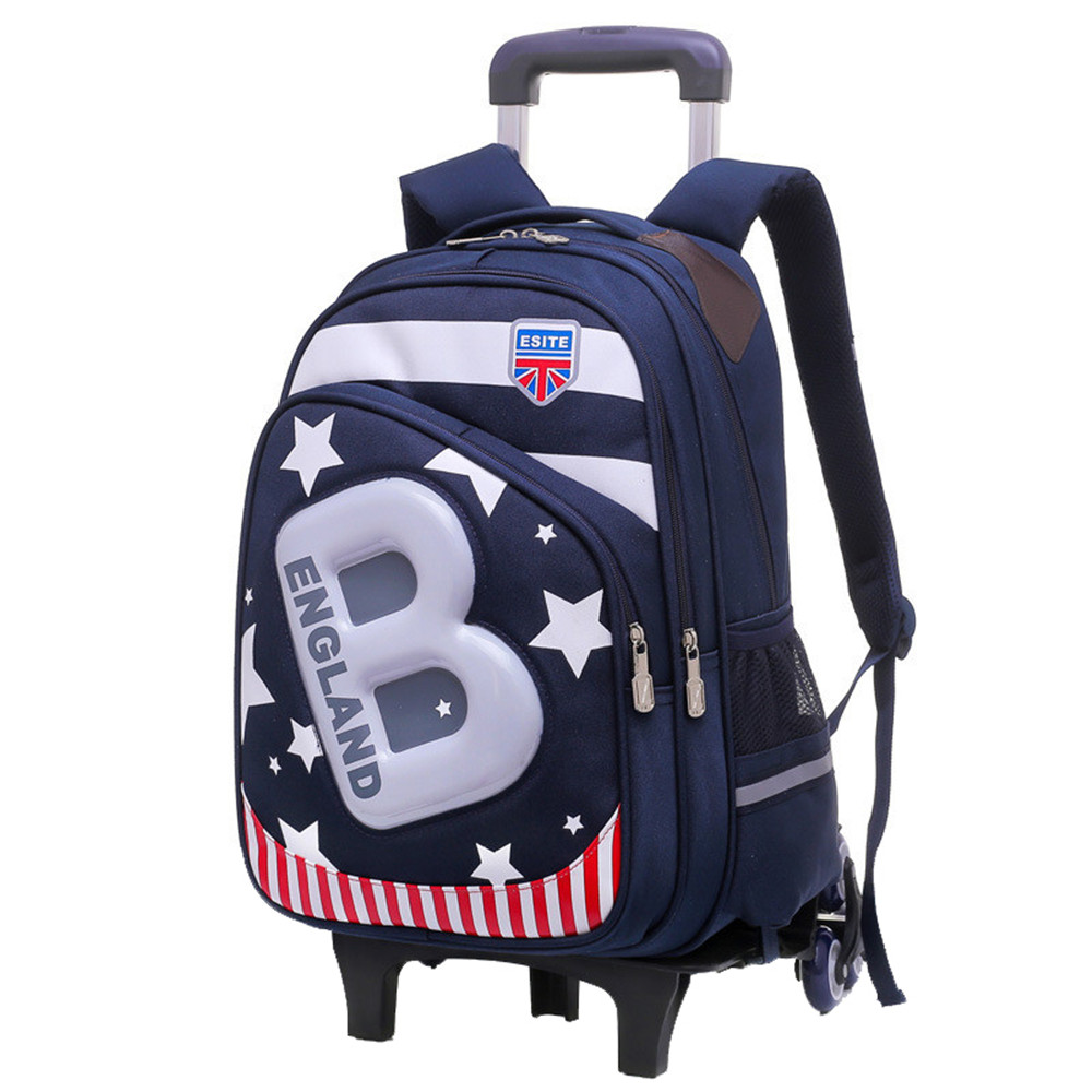 Waterproof Children School Bags For Boys Girls Kids Trolley Backpack Schoolbag Rolling Luggage Wheeled Book Bags Travel Luggage