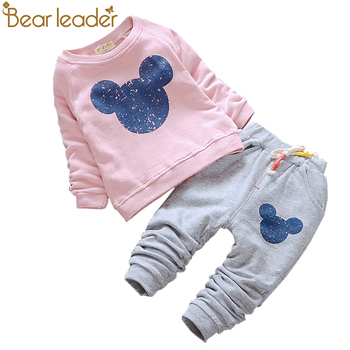 Bear Leader Baby Girl Clothes 2016 Autumn Baby Clothing Sets Cartoon Printing Sweatshirts+Casual Pants 2Pcs for Baby Clothes conjuntos casuales para niñas