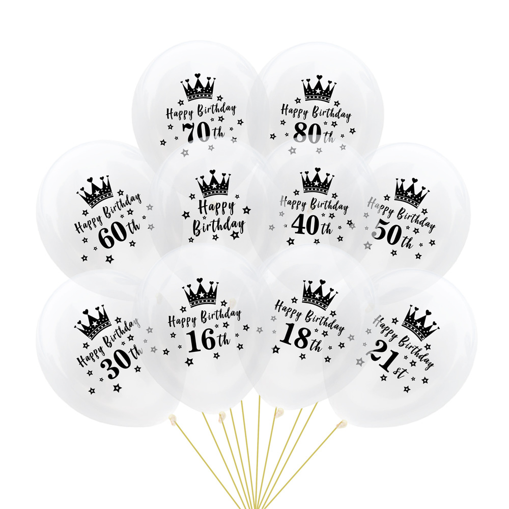 DIY Confetti Balloons 10pcs <font><b>12</b></font> Inch Latex Clear Birthday Balloons 18 30 40 50 60 70 <font><b>80</b></font> Anniversary Wedding Party Decoration image