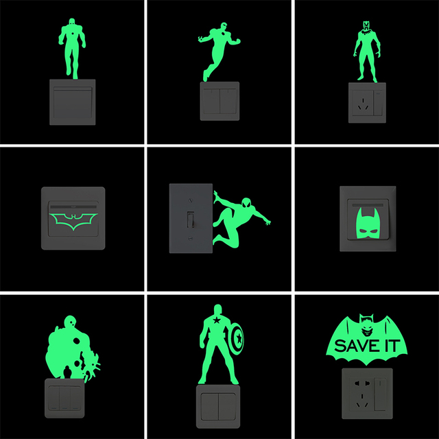 cool cartoon superhero vinyl light switch sticker funny luminous