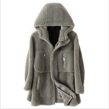 Модные женские пальто, зимнее кашемировое пальто из овечьей кожи, свободное, средней длины, высокое качество, пальто из искусственного меха с капюшоном