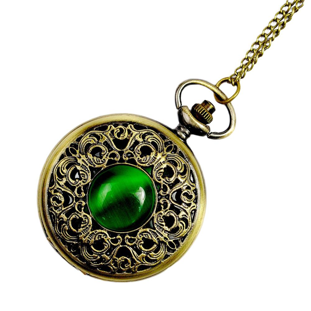 Vintage Emerald Stone Pocket Watch Gothic Fashion Retro Green Opal Pocket Watch San0
