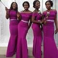 African Bridesmaids Dresses Fuchsia 2017 Off Shoulder Sleeves Mermaid Long Wedding Party Dress Bride Maid Gowns vestido madrinha
