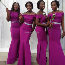 African Bridesmaids Dresses Fuchsia 2017 Off Shoulder Sleeves Mermaid Long Wedding Party Dress Bride Maid Gowns vestido madrinha