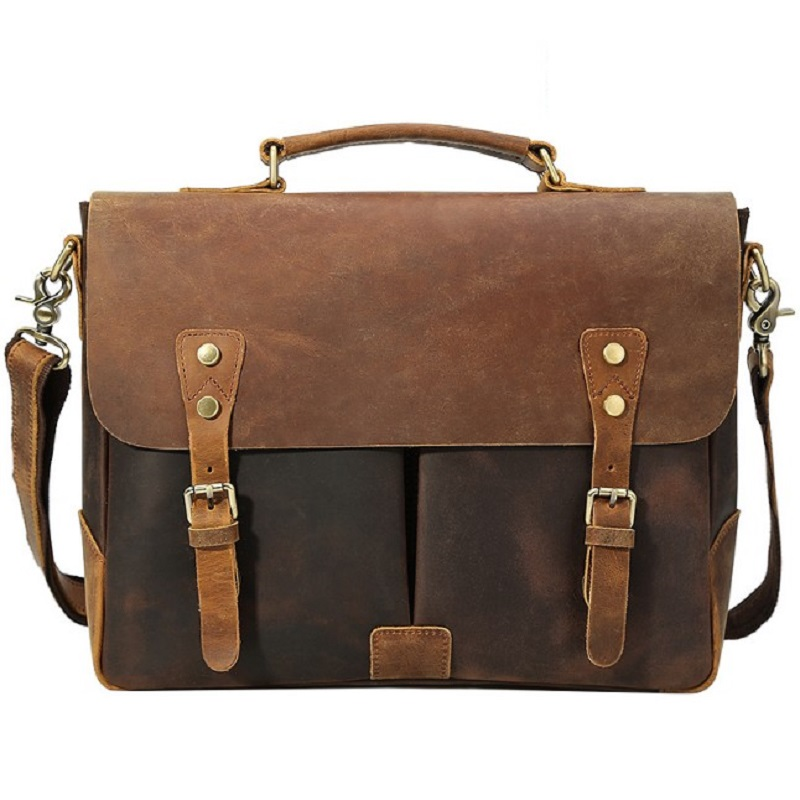 Men Briefcase Genuine Leather Vintage Brown Travel Shoulder Bags Man New Hand Messenger Cow Leather Tote Bag Laptop Briefcases
