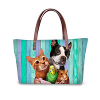 Colorful pet dog design bags luxury handbags women designer lady tote bag Shoulder Bags side bag neoprene material