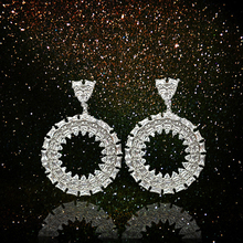MADALENA SARARA AAAA CZ Zircon Inlaid Women Earrings Two colors silver gold optional Round Dangle Style elegant