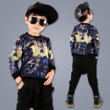 New Tide Brand 2016 Children's Long-sleeve Clothes Set Teen Boys Clothes School Uniform Hiphop Outwear Sports Sets Clothes 2pcs