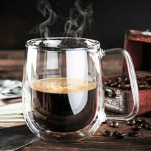 250ml High Quality Double Wall Coffee Cup Handmade Clear Heat-Resisting Tea Milk Coffee cups Fashion Cups With Handle