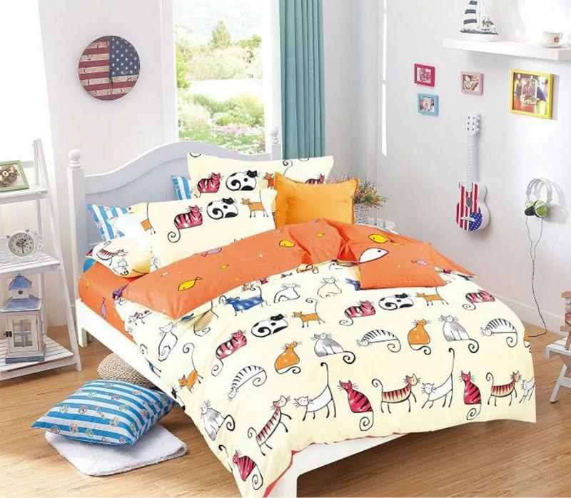 Cute Cats Cartoon Bedding Pink Orange Cat Bed Sheets Girls Boys Kids Girls Size Optional Duvet Cover Set 100% Cotton