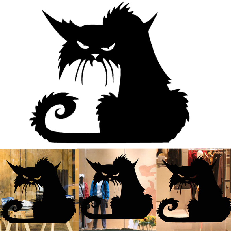 festival halloween party wild cats window wall decals stickers decorations for kids rooms nurserychina - Halloween Cat Decorations