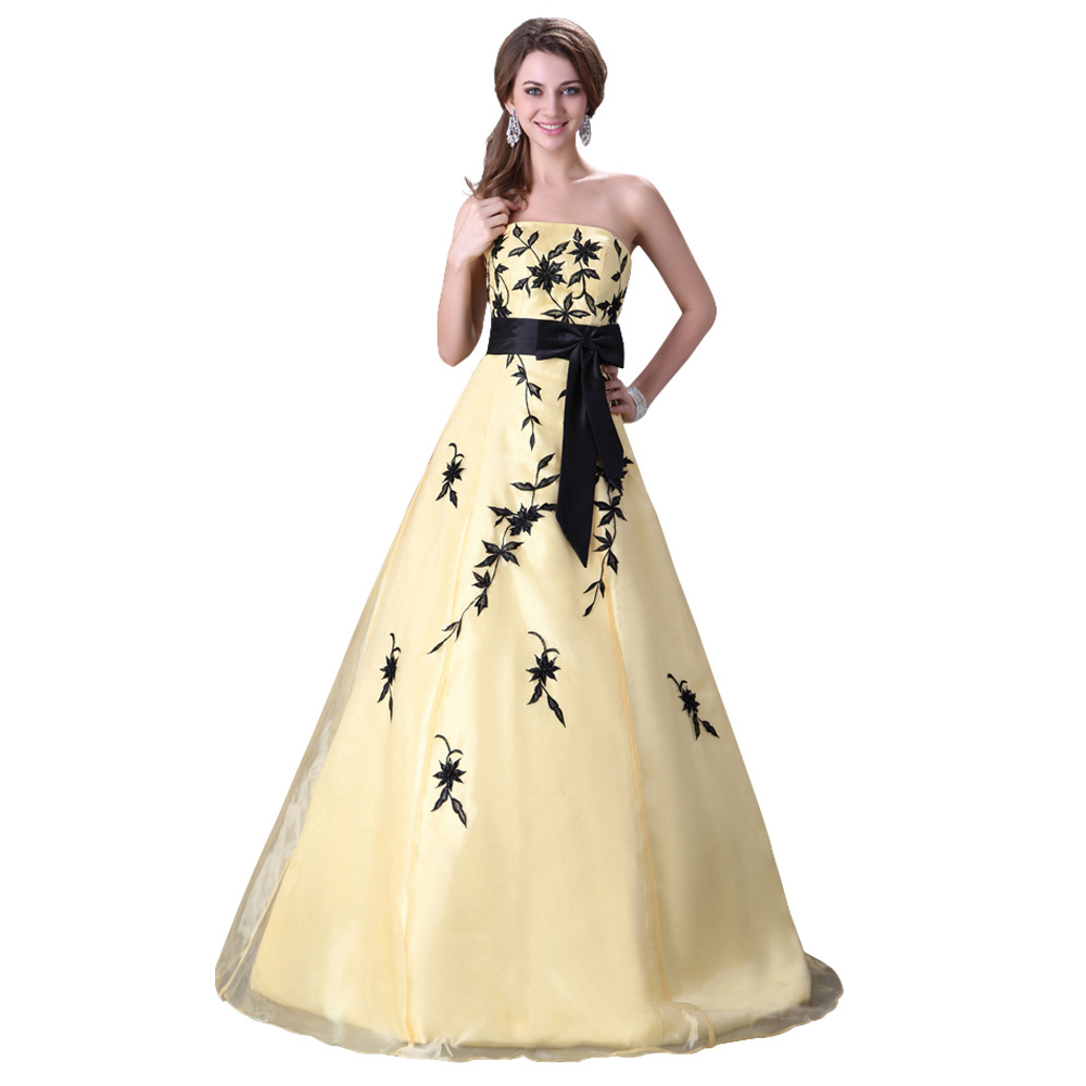 Hot Sale Strapless Appliques Yellow Wedding Dress 2015 Princess ...