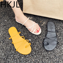 HKJL Fashion Slipper women flat bottom simple fashion with Korean version of the new summer 2019 student slippers A687