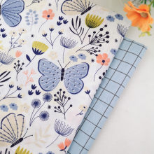 Blue Butterfly Grids Floral Cotton Fabric for Diy Handmade Patchwork Quilting Sewing Pillows Baby Bedding Decoration Material(China)