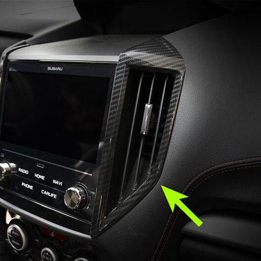 Front Dashboard Middle Air Vent Circulation 2Pcs Faced Carbon Fiber Look Cover For <font><b>Subaru</b></font> <font><b>XV</b></font> Crosstrek <font><b>2018</b></font> Interior <font><b>Accessories</b></font> image