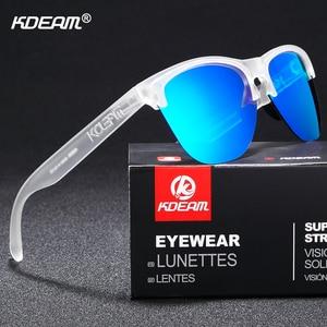 Image 5 - Мужские поляризационные очки KDEAM, спортивные антибликовые солнцезащитные очки в эластичной оправе, уличные очки с чехлом, Happy TR90