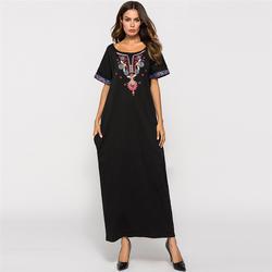 2019 мусульманское Абая женское с коротким рукавом вышивка Свободное длинное платье повседневное исламское Макси платье кафтан