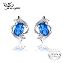 Jewelrypalace 1.1ct natural de londres topacio azul oval stud pendientes plata de ley 925 joyas de piedras preciosas pendientes de las mujeres 2016 de tendencia