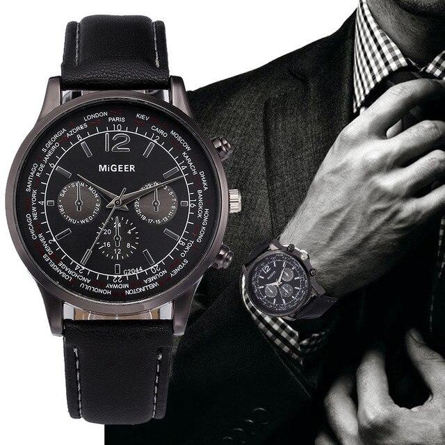 dfe7aaf995d7 Reloj de lujo de cuero de imitación de la moda para hombre Relojes hombres  reloj de