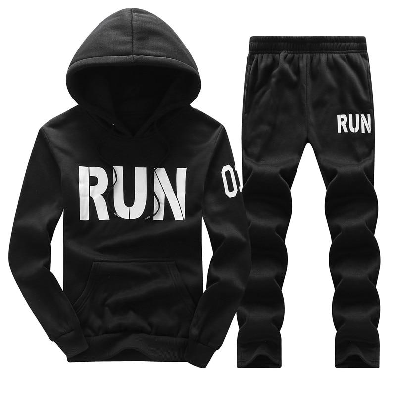 Tracksuit Men Hoodies Men Winter Fleece Tracksuits Print Sportswear 2PC Jackets Pants Sudaderas Hombre Men s