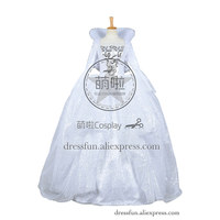 Cinderella 2015 film Cosplay The Fairy Godmother Costume White Formal Dress Sequins and Lace Decorations Glamorous Party