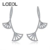LCEOL DropShipping French Monaco Brand Jewelry Elegant Luxurious Long Drop Earrings For Women Double Fan Design