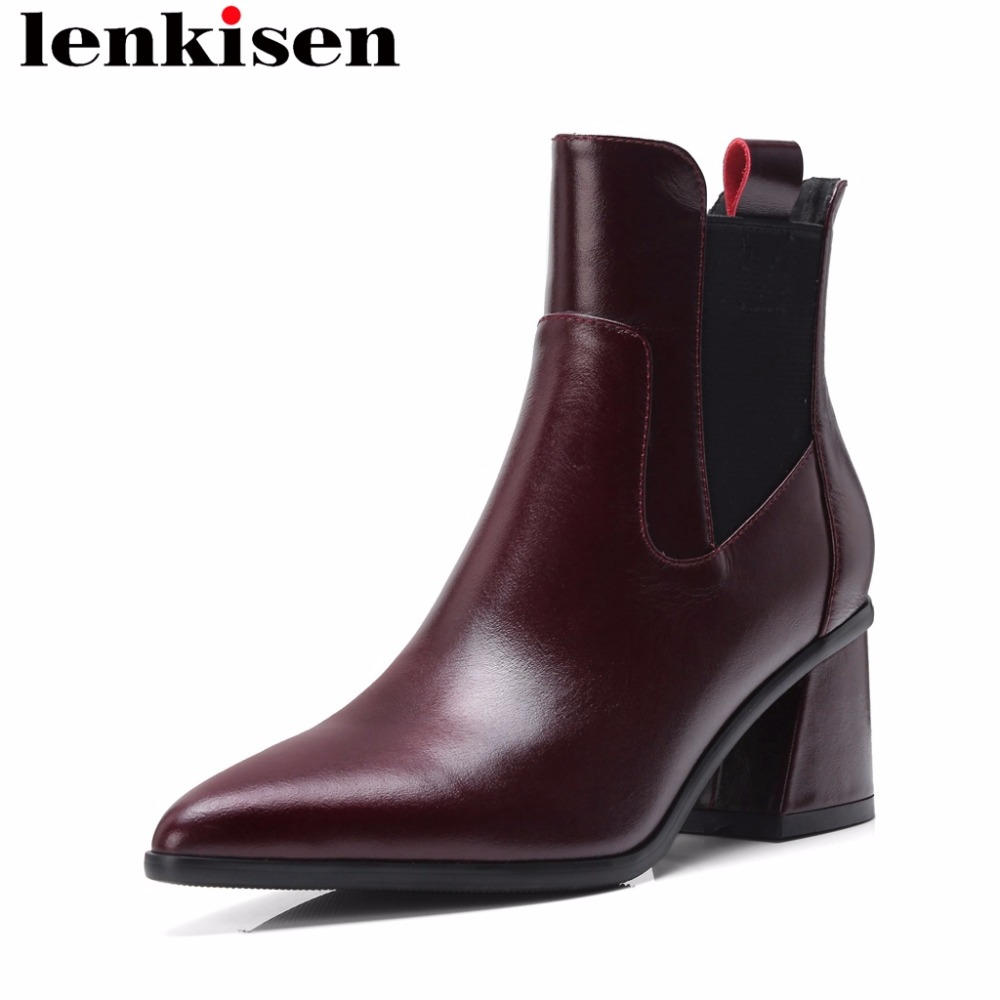 Lenkisen oxford british style chelsea boots med heels solid pointed toe natural leather slip on all-match women ankle boots L70 цена