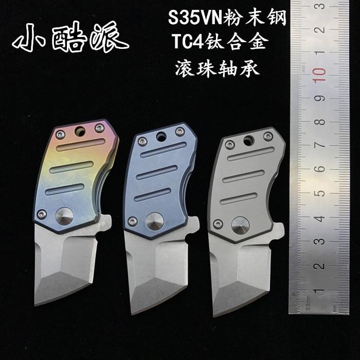 COOL Série Pliant Couteaux de Poche/Couteaux de Chasse/Tactique Couteaux, Alliage de titane Poignée, S35VN Poudre Acier Lame 1 ''1/5