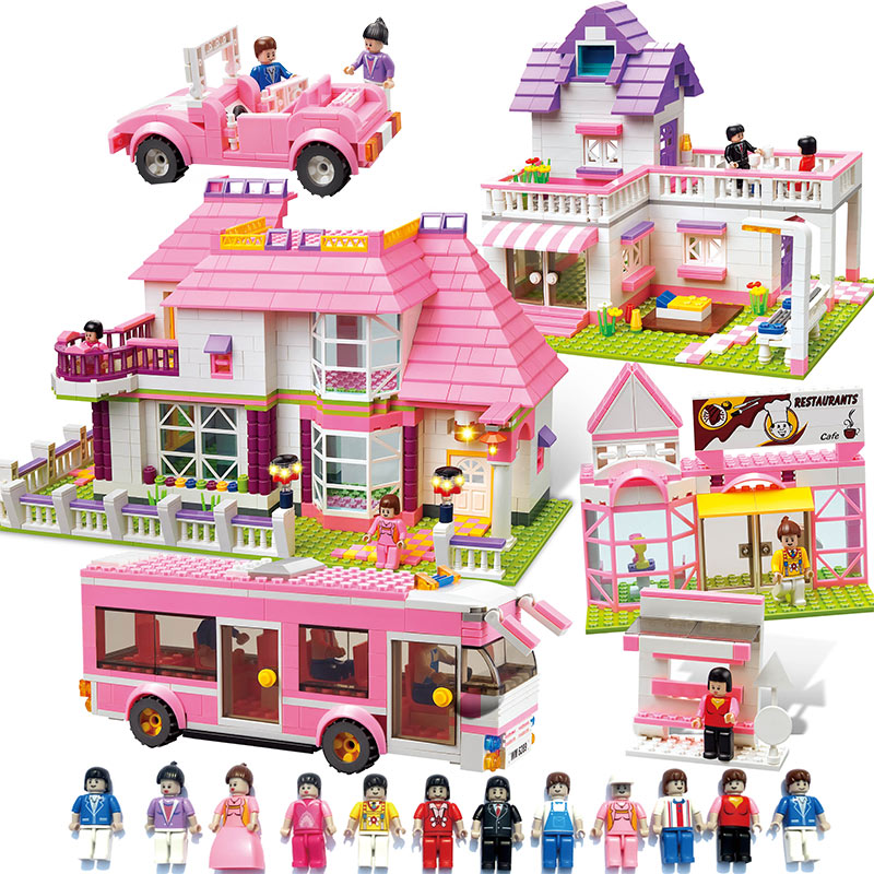 Dear Friends Series Building Blocks Toys Girl Villa Castle car doll compatible legoe little white dragon assembling toys educational toys girl fantasy girls beach villa 423