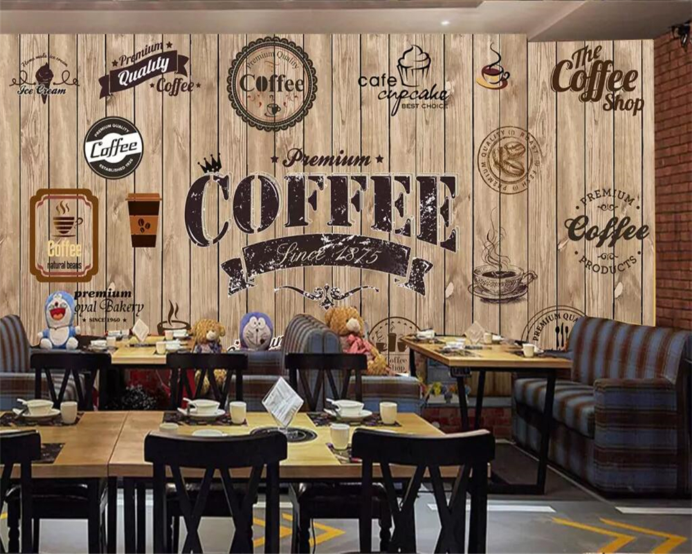 Us 8 85 41 Off Beibehang Custom Wallpaper Wood Shading Retro Coffee Shop Label Background Wall Restaurant Mural Tv Background Wall 3d Wallpaper In