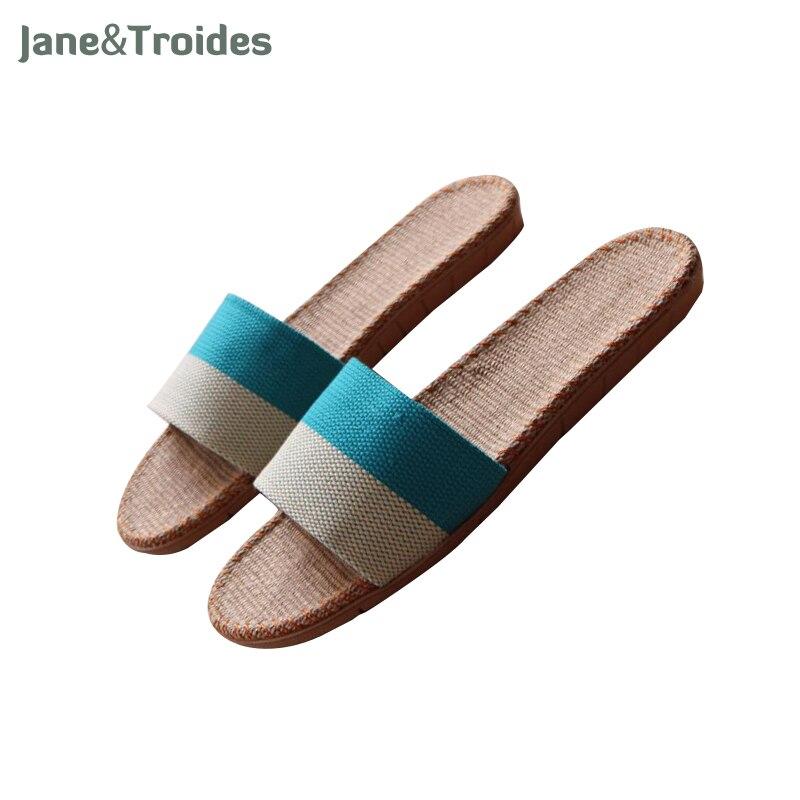 Jane Troides Summer Linen Home Man Slippers Bedroom Striped Indoor Anti Slip Flax Men Sandals