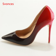 Gradient Color Pointed Toe Women Party Wedding Shoes Black Sexy Red High  Heels Slip-on Pump Woman Super High Heel Sapatos Mulher bb078630628c